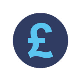 Blue graphic, icon, GBP symbol in circle