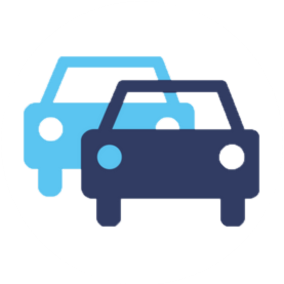Blue graphic, icon, 2 cars overlapping