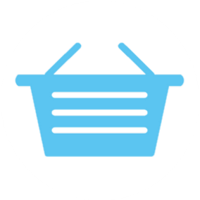 Blue graphic, icon, shopping basket