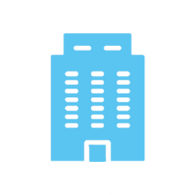 Blue graphic, icon, high-rise office building