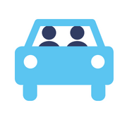 Blue graphic, icon, 2 people in car