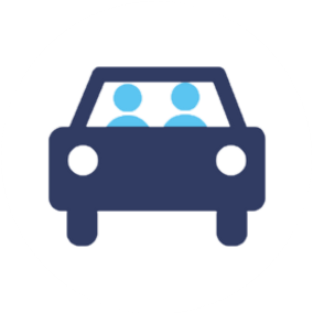 Blue graphic, icon, 2 people inside a car