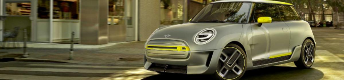 Mini Electric, silver car, yellow trim