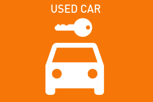 orange graphic, used car