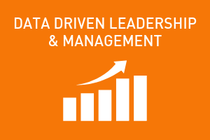 orange graphic, data driven leadership management