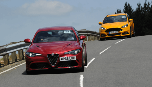 Alfa Romeo and Ford on Alpine Route