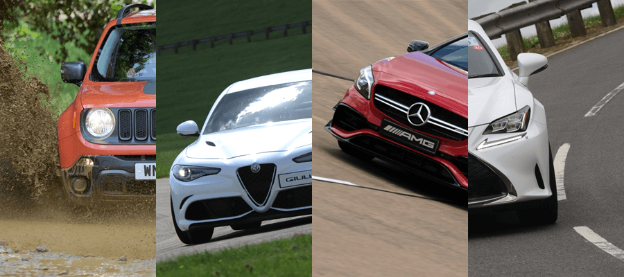 Jeep, Alfa Romeo, Mercedes-Benz and Lexus on 4 unique courses